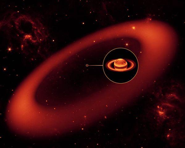 L'anneau géant de Saturne découvert par Spitzer