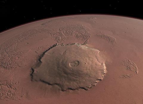 Le Mont Olympus sur Mars