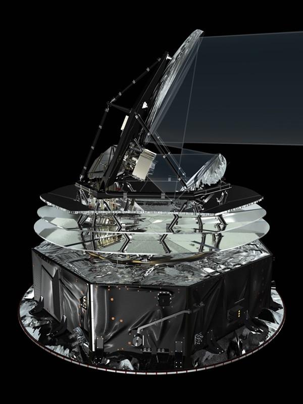 Vue d'artiste du satellite Planck et de son télescope