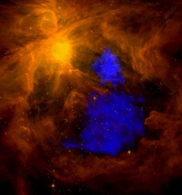La Nebuleuse d'Orion vu par Spitzer et XMM-Newton