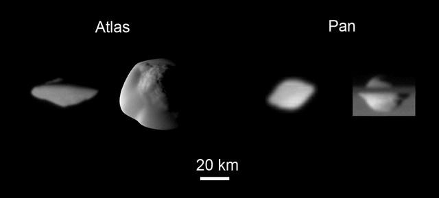 Atlas et Pan vu par Cassini