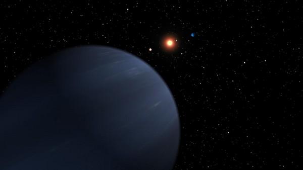 Vue d'artiste du système de 55 Cancri