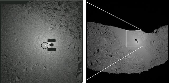L'ombre de Hayabusa sur l'astéroïde Itokawa