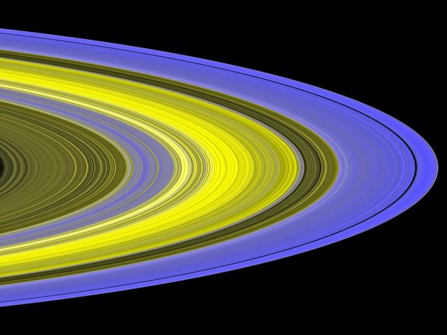 Les anneaux de Saturne dans l'U.V . Vue par Cassini