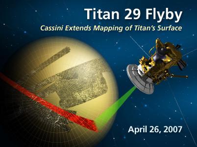 Survol de Titan par Cassini, vu d'artiste
