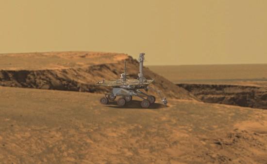 Opportunity au bord du cratère Victoria (image de synthèse)