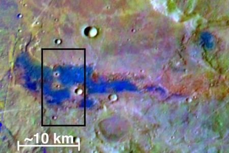 Image en fausses couleurs des dépôts de sel sur Mars