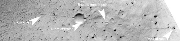 Avalanche sur Mars vu par MRO